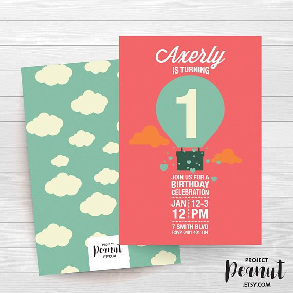 Hot Air Balloon - Up up and Away - 1st Birthday - Cloud Party - Birthday Invitation - Girl Birthday - Boy Birthday - Unisex Invitation Up, up and away to the classic hot air balloon birthday celebration.  PLEASE NOTE:  + You are purchasing a digital file only.  + NO PRINTED MATERIALS ARE INCLUDED!  + There are NO REFUNDS as this is a digital product.  + A reminder that this is a DIGITAL PRODUCT.  WHAT DO YOU GET? 4x6 inch digital printable invitation - with *bonus reverse side* (The files…