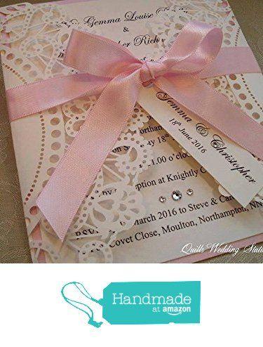 Lace Effect Wedding Invitation from Quills Wedding Stationery https://www.amazon.co.uk/dp/B01LXS38CU/ref=hnd_sw_r_pi_dp_hMqcybC6954JP #handmadeatamazon