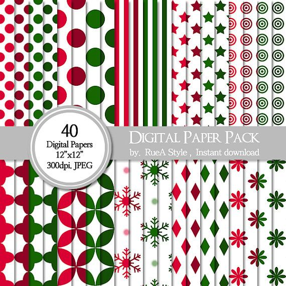 SALE 40 Digital Paper Pack Dot christmas red green by rueastyle
