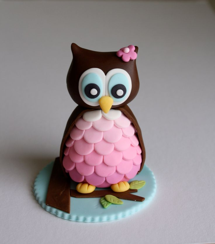 Fondant Girl Owl Cake topper Fondant Owl Cake Topper Owl Cake birthday party girl boys kids kid chil children Owls Owl hibou gateau