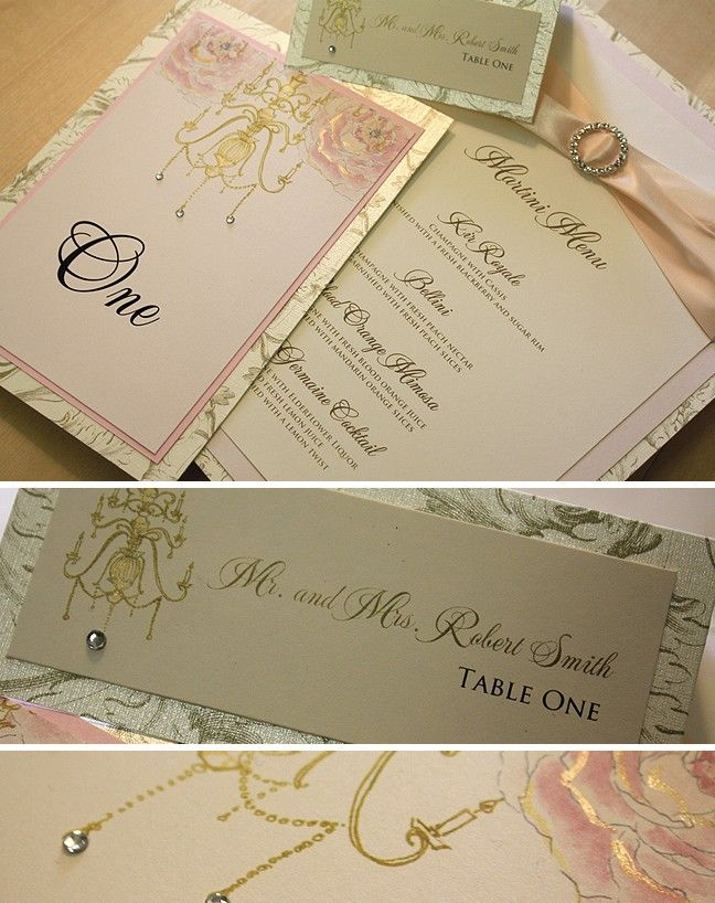 paper style wedding invitations%0A Pink and Gold  Peony and Chandelier Handmade Wedding Invitation
