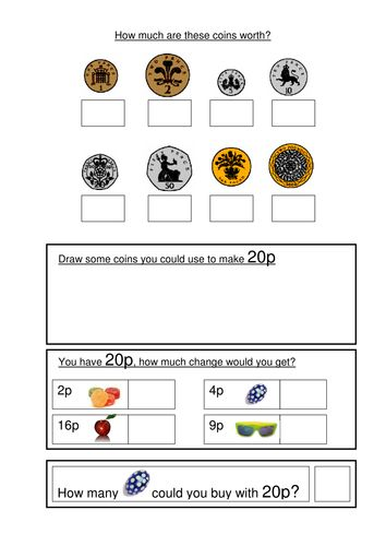 Money worksheets KS1- coin recognition, change and problem solving