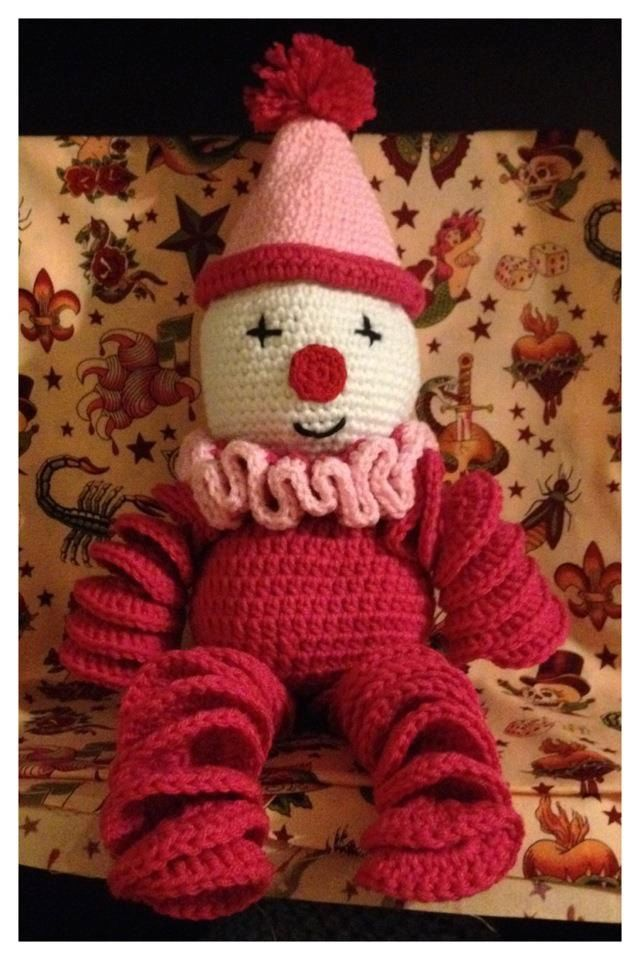 Crochet Clown Doll. I had one like this when I was a kid, but different colors.