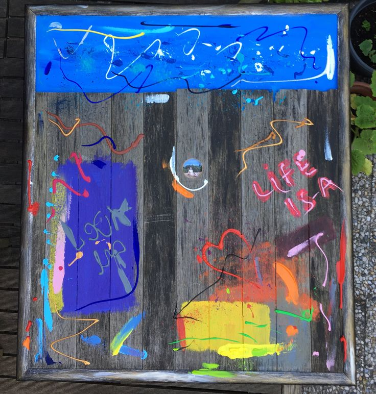 PEEPHOLE, 88 x 100, wood from a recycled garden table, acrylic paint, framed.