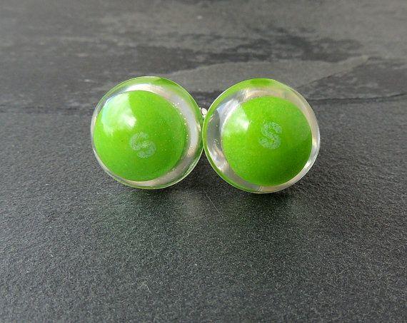 Green Skittles Cufflinks Real Sweets Letter S by JustKJewellery, £15.00