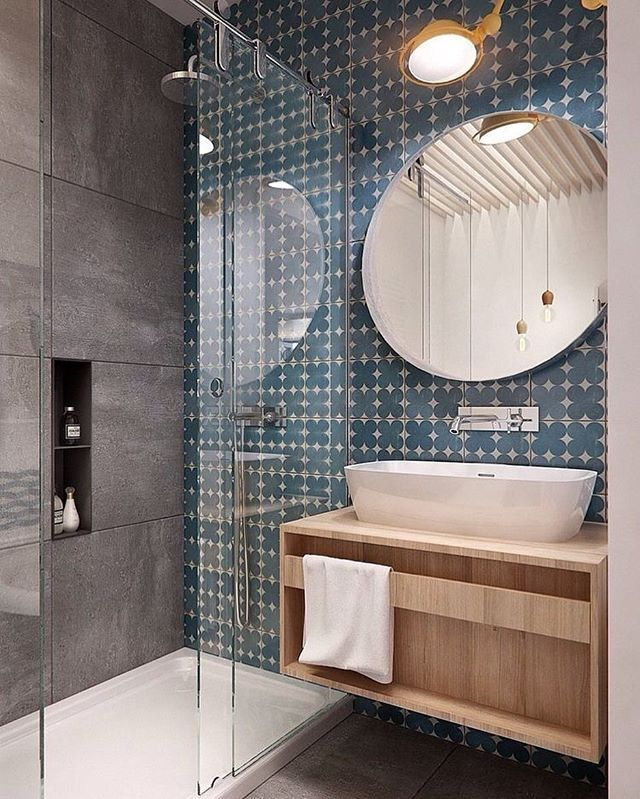 WEBSTA @ adesignersmind - Love this bathroom by in2architecture! That feature tile and round mirror and of course that beautiful timber vanity!! #homedesign #lifestyle #style #designporn #interiors #decorating #interiordesign #interiordecor #architecture #landscapedesign