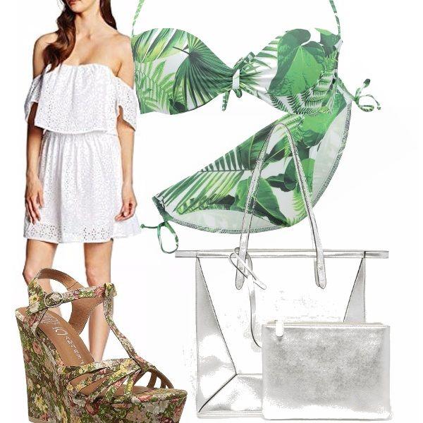 Un ferragosto fiorellato. Il bikini bianco e verde fa venire voglia di natura e vacanze. La coppa sostenuta è adatta anche per coloro che hanno poco o molto seno. Le scarpe, con la zeppa alta ti garantiscono comodità, altezza e bellezza in un sol momento. L'abitino in san gallo è delizioso e la borsa trasparente con pochette è adatta alla tua giornata al mare.