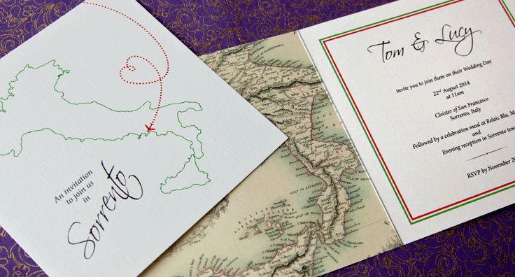 Italian Invitations - Italy map stationery