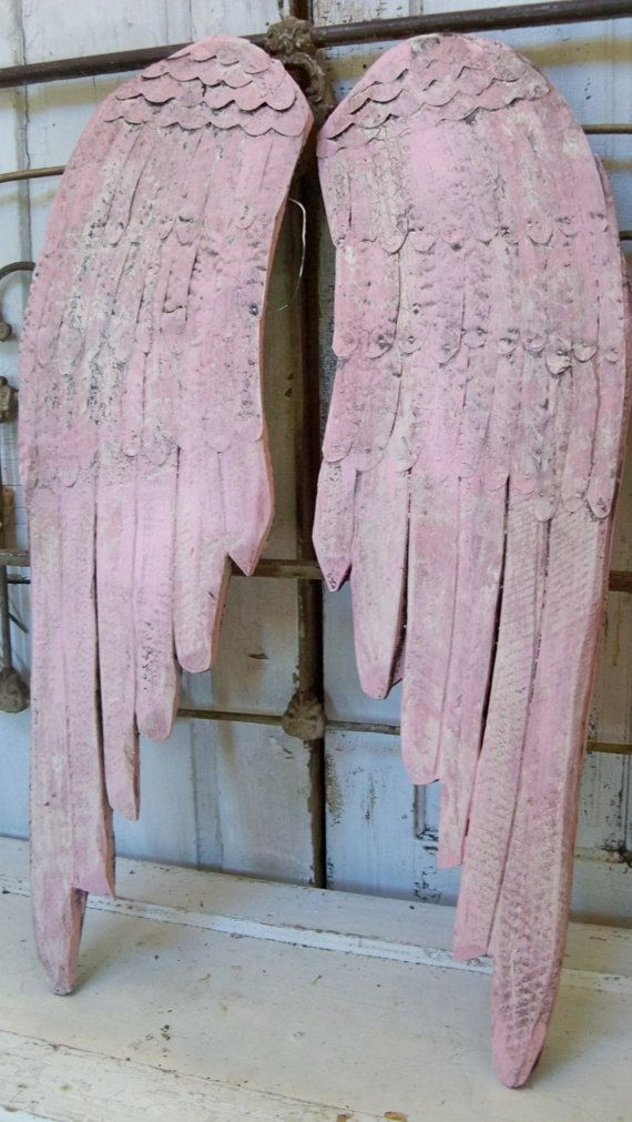 Large Distressed Wall Decor : Large wooden wings pink white very distressed wall decor