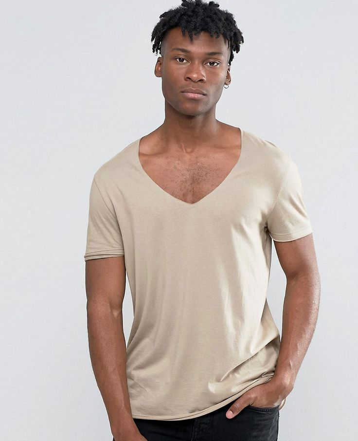 longline short t-shirt with curved hem and raw v-neck in drape fabric