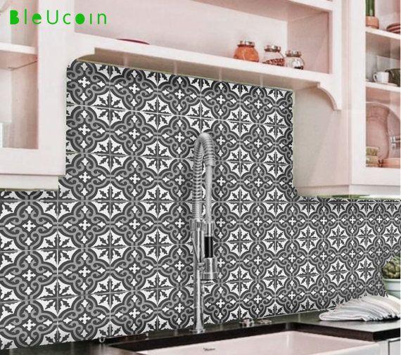 Bleucoin Tile Decal Backsplash: Tile/Wall Decal: Moroccan Tile Sticker For Kitchen