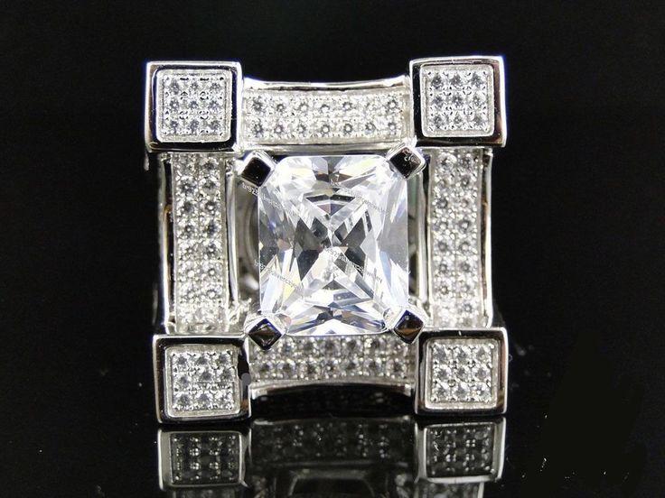4.00 Ct 14k White Gold Emerald Diamond 3D Iced Out Mens Clear Diamond Pinky Ring #br925silverczjewelry #MensWeddingPinkyRing #EngagementWeddinganniversaryPartyDailyWear