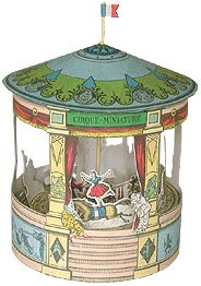 A complete free printable vintage circus carousel merry go round  and a complete free printable Victorian mini theater  with set and characters for the play Cinderella!