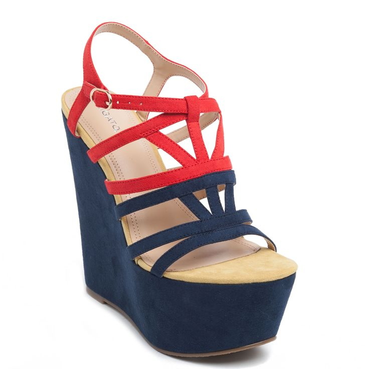 Colour block platform with suede texture and many straps in red and blue colour