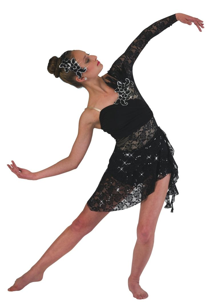 Lace and mesh over nude and matching lycra shortie unitard with attached silky stretch drape. Attached lace asymmetrical skirt and sleeve. Sequin feather appliqué and spiral drape trim. Appliqué headpiece included M   L   XL   CHILD S   M   L   XL   ADULT
