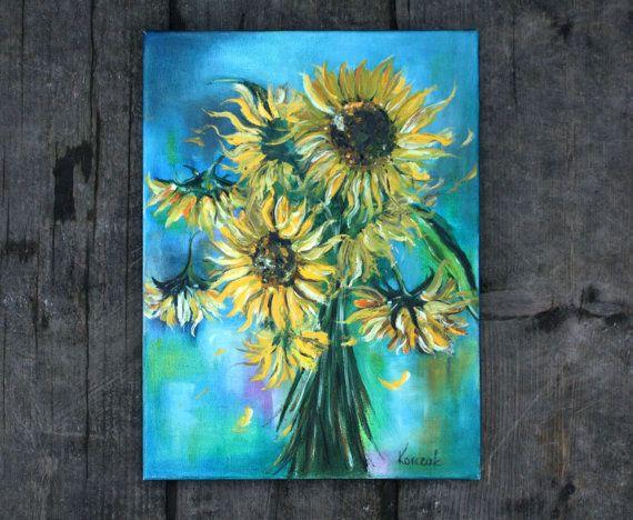 Original Oil Art Sunflowers Oil Painting Art by BarbaraGallery
