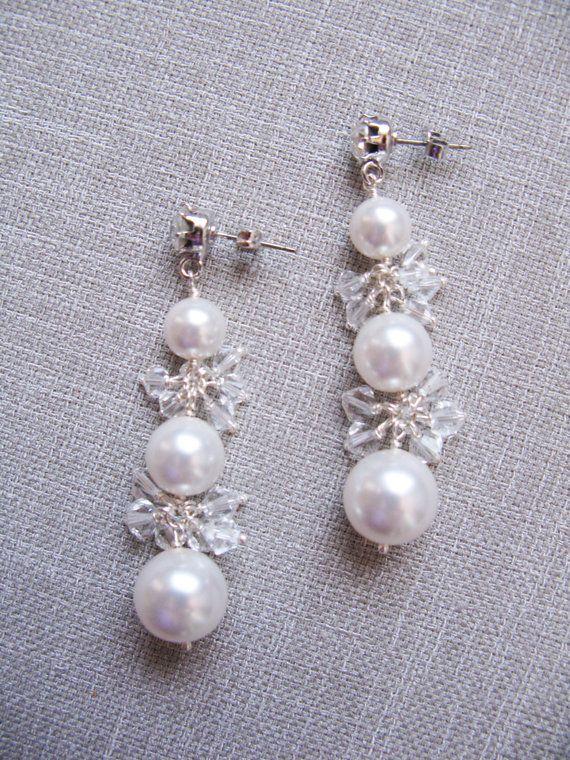 Swarovski crystal & 3 pearl stud bridal earrings by trinkjewelry