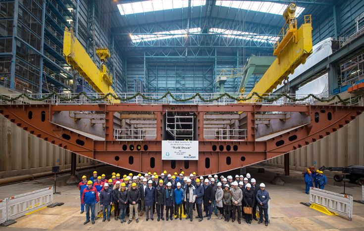 A ceremony was held to celebrate the World Dream's keel laying at the Meyer Werft shipyard.