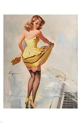 PIN-UP GIRL over-the-shoulder LOOK poster24X365 lifting SKIRT SEX APPEAL
