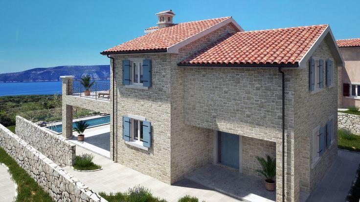 Villa in Stein-Optik mit Meerblick auf der Insel Krk