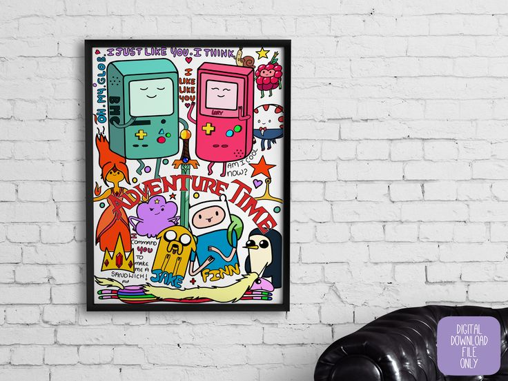 Adventure Time Print, Cartoon, Digital Download, Wall Art, Home Decor, Geek, Animation, Bedroom, Home and Living, Gaming, Gamer, Gameboy by TheHollieCraft on Etsy https://www.etsy.com/uk/listing/531009521/adventure-time-print-cartoon-digital