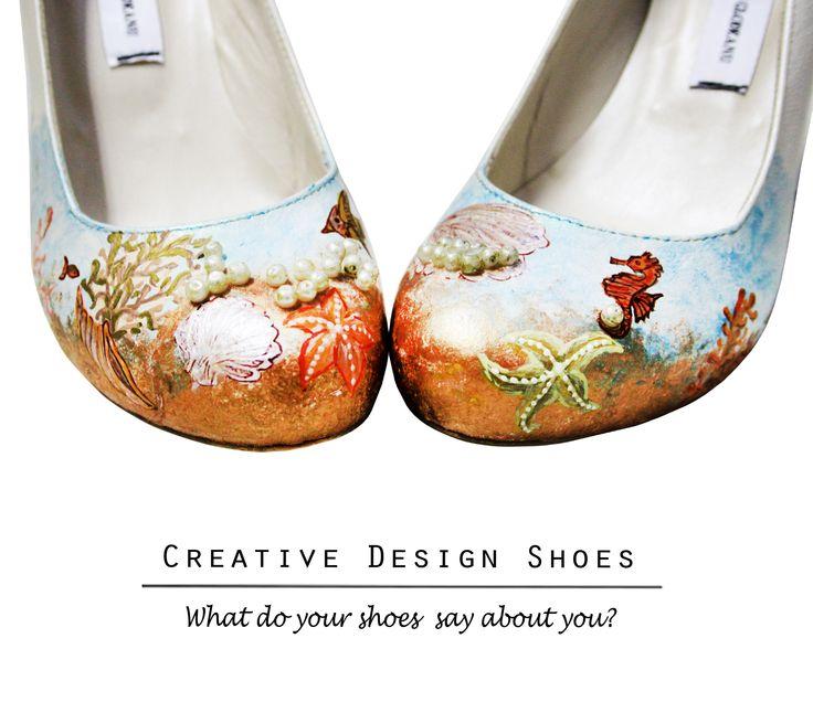 Blue Lagune - Pantofi pictați manual