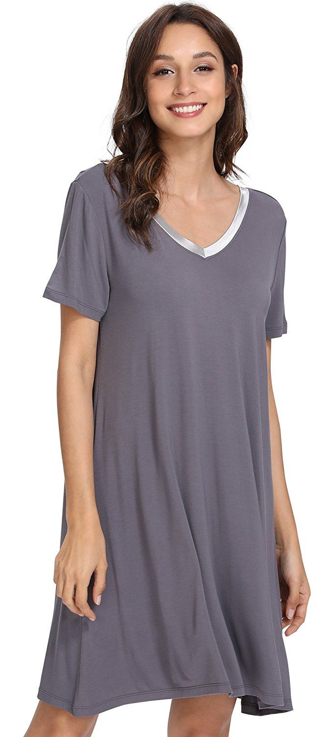 GYS Women s Short Sleeve Nightshirt V Neck Bamboo Nightgown at Amazon  Women s Clothing store  14a6b1300
