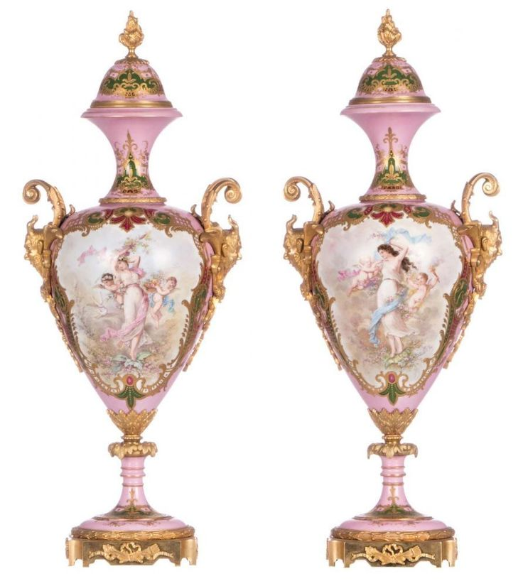 A pair of ornamental vases with gold-layered rose pompadour ground, decorated with mythological scen
