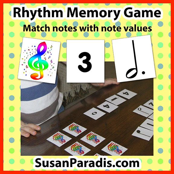 Rhythm Memory Game | Free Piano Teaching Resources | Game to teach rhythm values