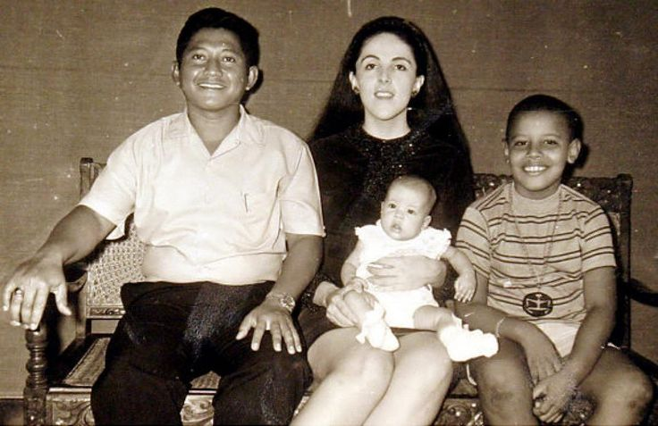 After Barack's parents separated, his mother married Lolo Soetoro, and the family moved to Soetoro's home country of Indonesia. Obama, r., is seen with his step-father Lolo Soetoro, his sister Maya Soetoro and his mother Ann Dunham.
