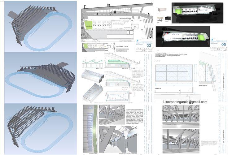 Adecuación del área de descanso y vestuarios del Estadio de Atletismo. 3D de cafetería, estructura del estadio y cubierta de vestuarios.