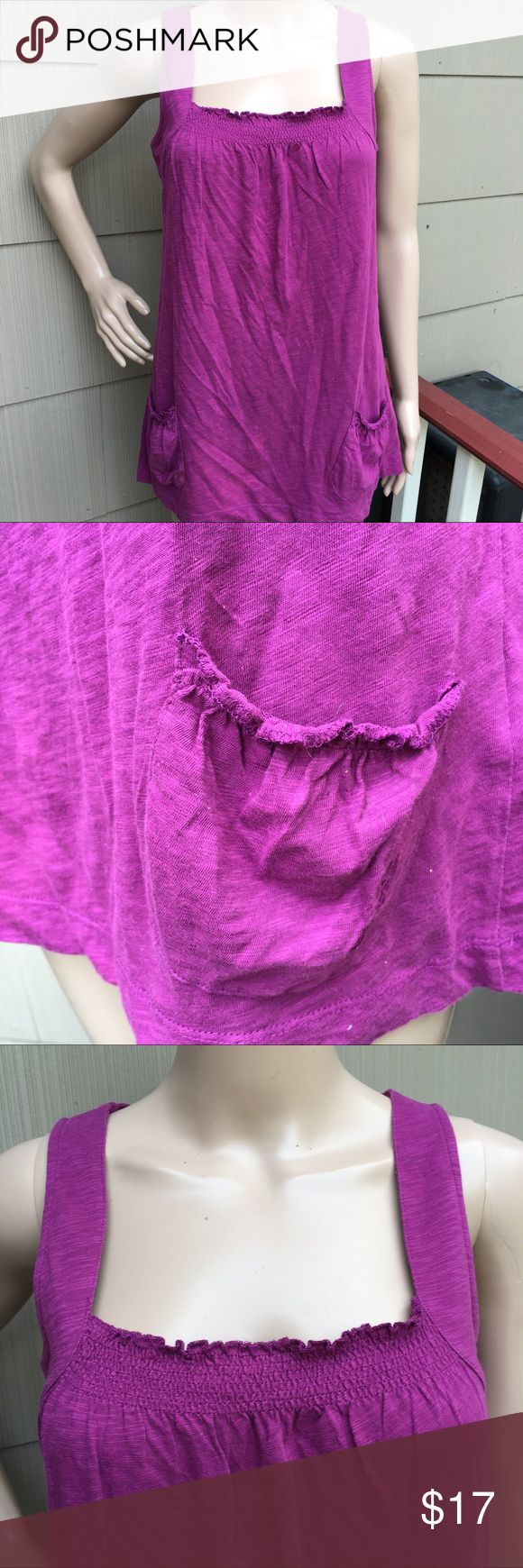 """Esprit smocked pocket tank top The color is more purple than it shows in the pictures. Smocked front 2 open pockets at the bottom. Soft cotton. In excellent condition! 18"""" pit to pit x 27"""" long Esprit Tops Tank Tops"""