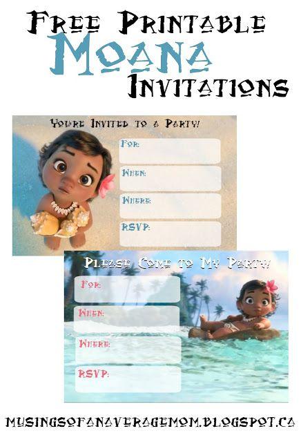 Free printable Moana party invitations
