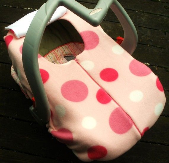 Winter Car Seat Cover for Baby Girl  pink polka by sophiemarie