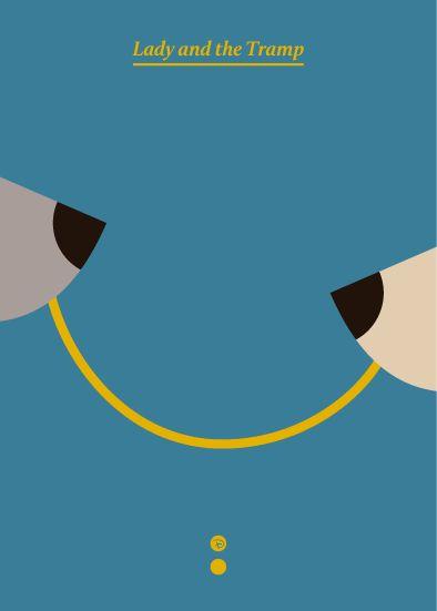 A Dama e o Vagabundo cartaz minimalista