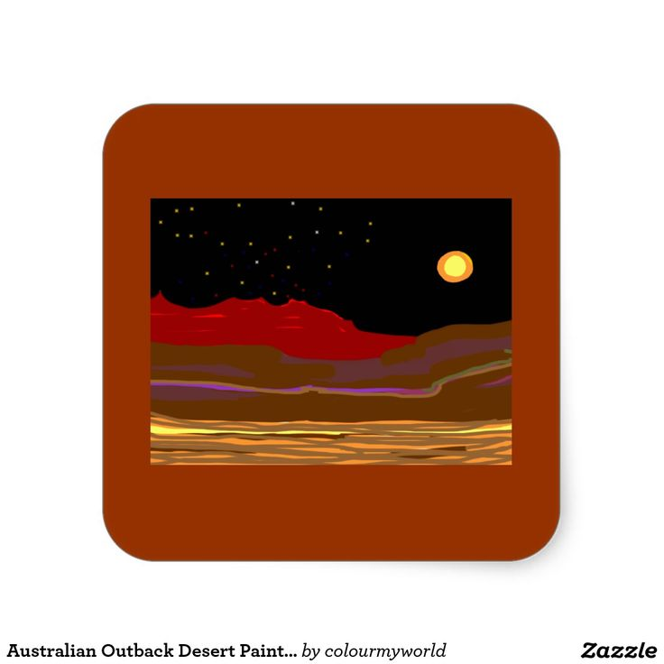 Australian Outback Desert Painting Square Sticker