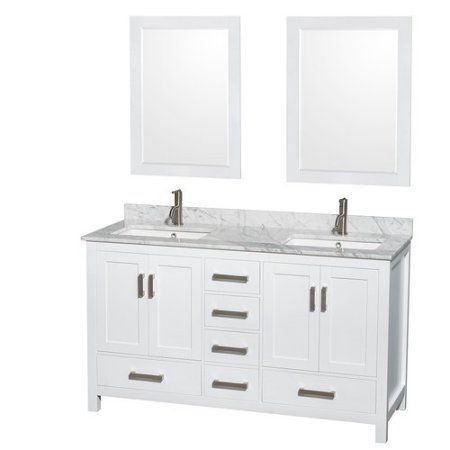 Pic On Wyndham Collection Sheffield inch Double Bathroom Vanity in White White Carrera Marble Countertop