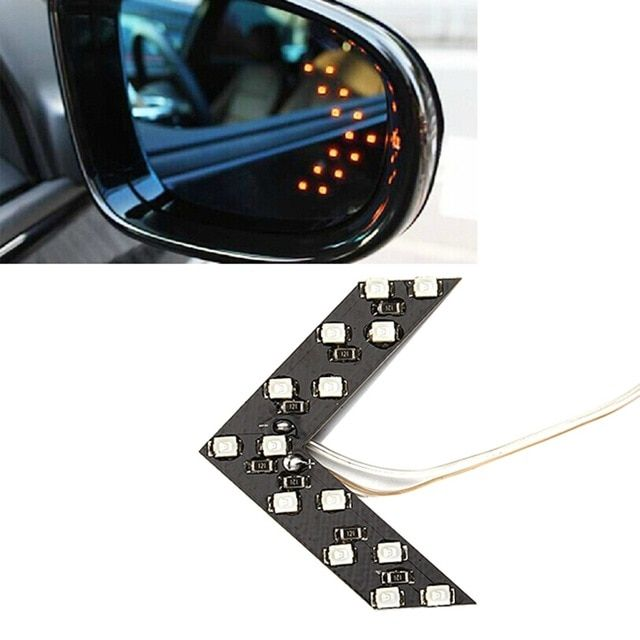 2pcs Led Car Turn Signal Lights Rear View Mirror Indicators Lamps 14 Smd Arrow Panel Side Bulbs Car Styli Side Mirror Car Car Rear View Mirror Rear View Mirror