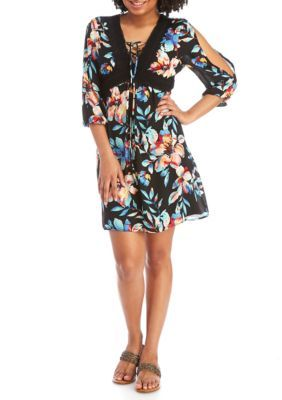 As U Wish Black Aqua Floral Peasant Dress With Cold Shoulder Sleeves