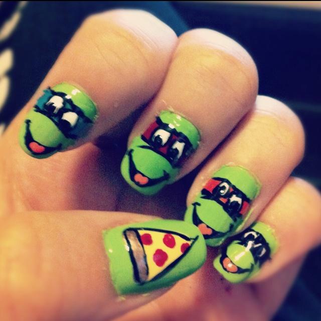 Teenage Mutant Ninja Turtles nailart @Katelyn Berry thought of you!