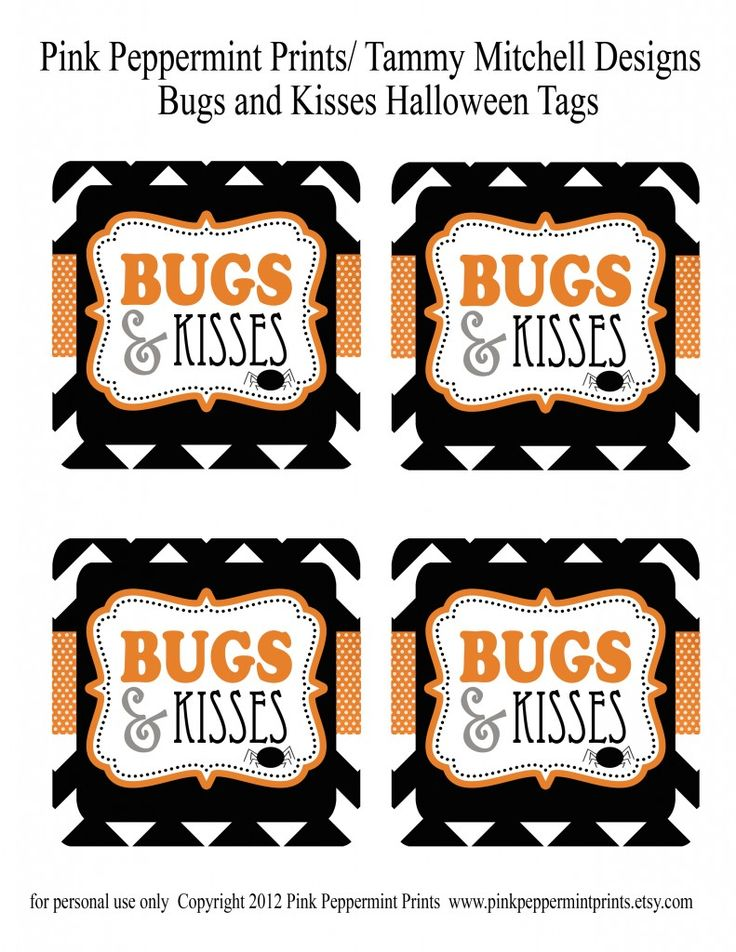"FREEBIE: Free Halloween Treat Tags/ ""boo""ing Tags Bugs and Kisses » Pink Peppermint Prints and Parties"
