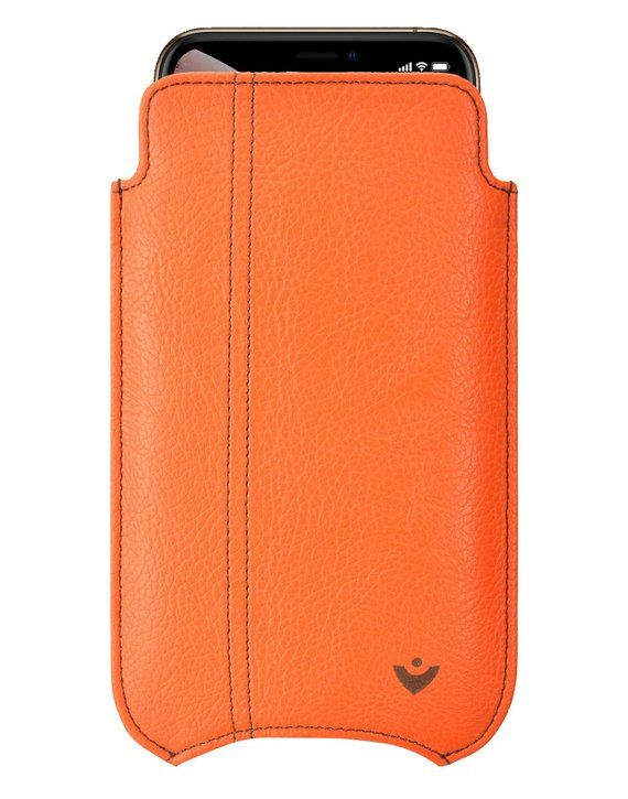 the latest eb0dd bb27a iPhone XR Case | Orange Faux Leather Screen Cleaning and Sanitizing ...