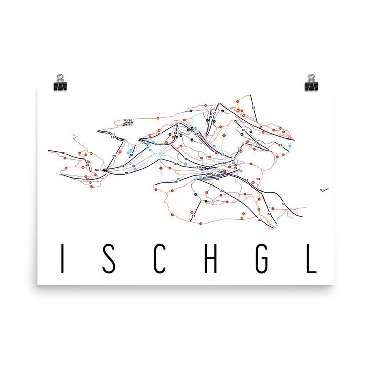 **MADE IN THE USA** You'll love this amazing Ischgl Art Print! This Ischgl ski map shows all of the trails and lifts at Ischgl Ski Resort. This will fit any decor, and also makes a great gift. If you