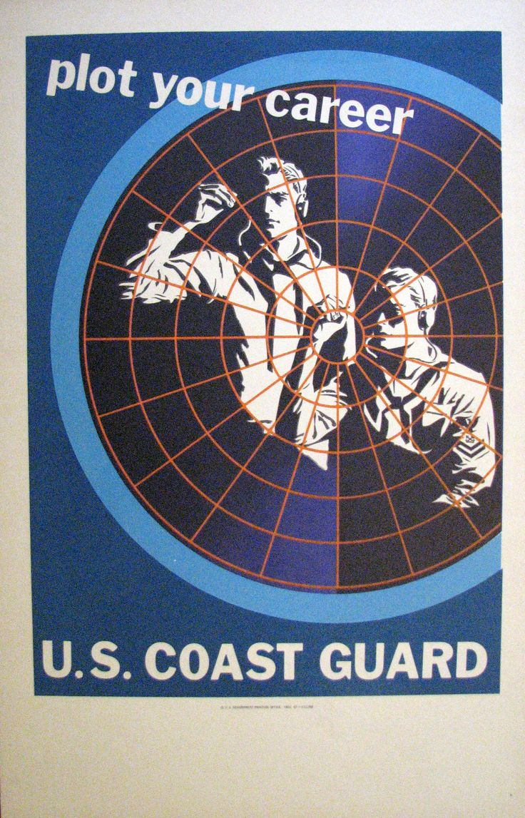 1952 Original US Art Deco Coast Guard Recruitment Poster: Plot your Career