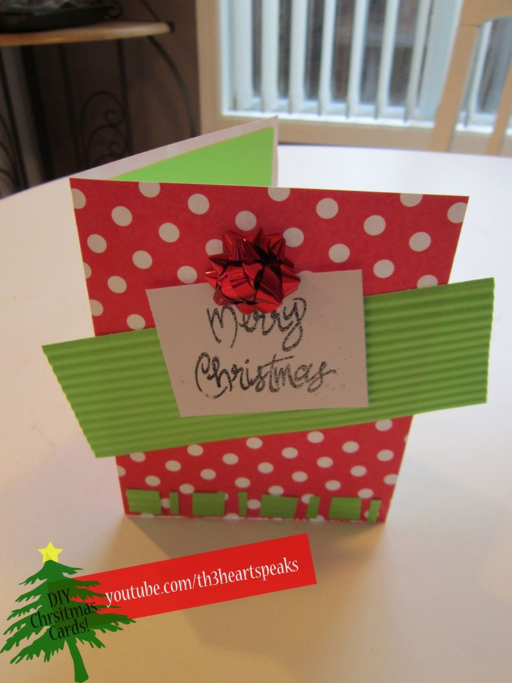 Polka Dot Holiday Card. Tutorial found on https://www.youtube.com/watch?v=3gZ6GeYznyE #holiday #diycards #th3heartspeaks #christmas