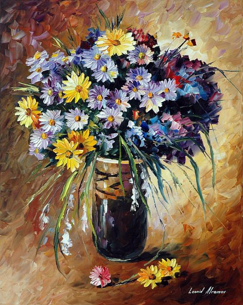 The bunch of flowers looks like an illusion. We... - Leonid Afremov Oil Painting Gallery