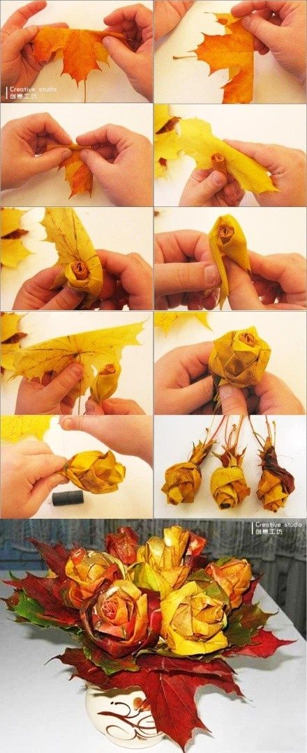 how cute! make a flower from an autumn leaf - works on green leaves too :) Borrowed a couple leaves from the trees as I was watering the horses and made the hubs a rose for our anniversary today :)