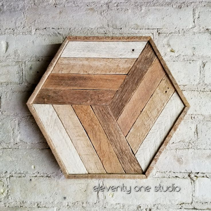 Reclaimed wood wall art or wood table tray by Eleventy One Studio. Made from unstained lath. Geometric hexagon pattern. Wood home decor.