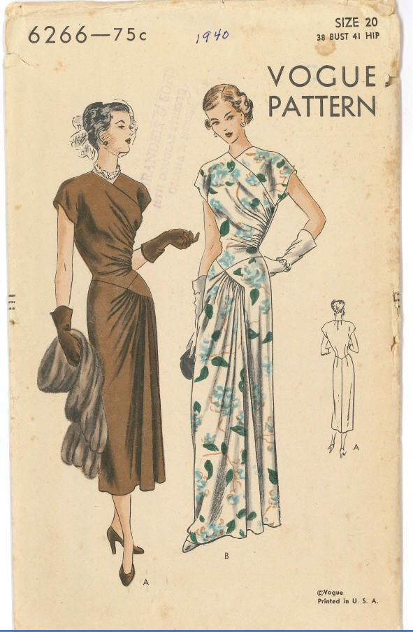 Vogue 6266 40s dress gown swag draping at hip drap olive brown floral white long dress day hat gloves shoes bag illustration print ad pattern
