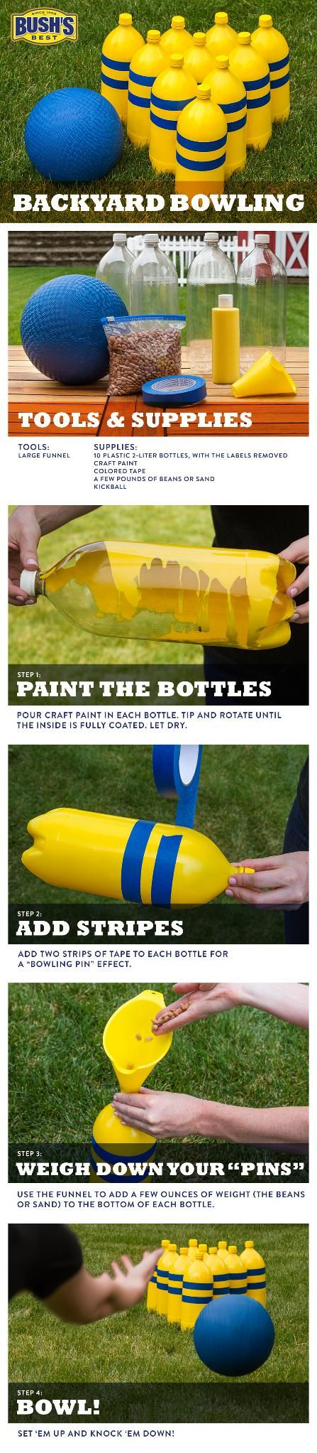 Diy backyard bowling easy to make with kids and a great way to diy backyard bowling easy to make with kids and a great way to recycle the 2 liter bottles leftover after a summer bbq repin and start saving th solutioingenieria Images